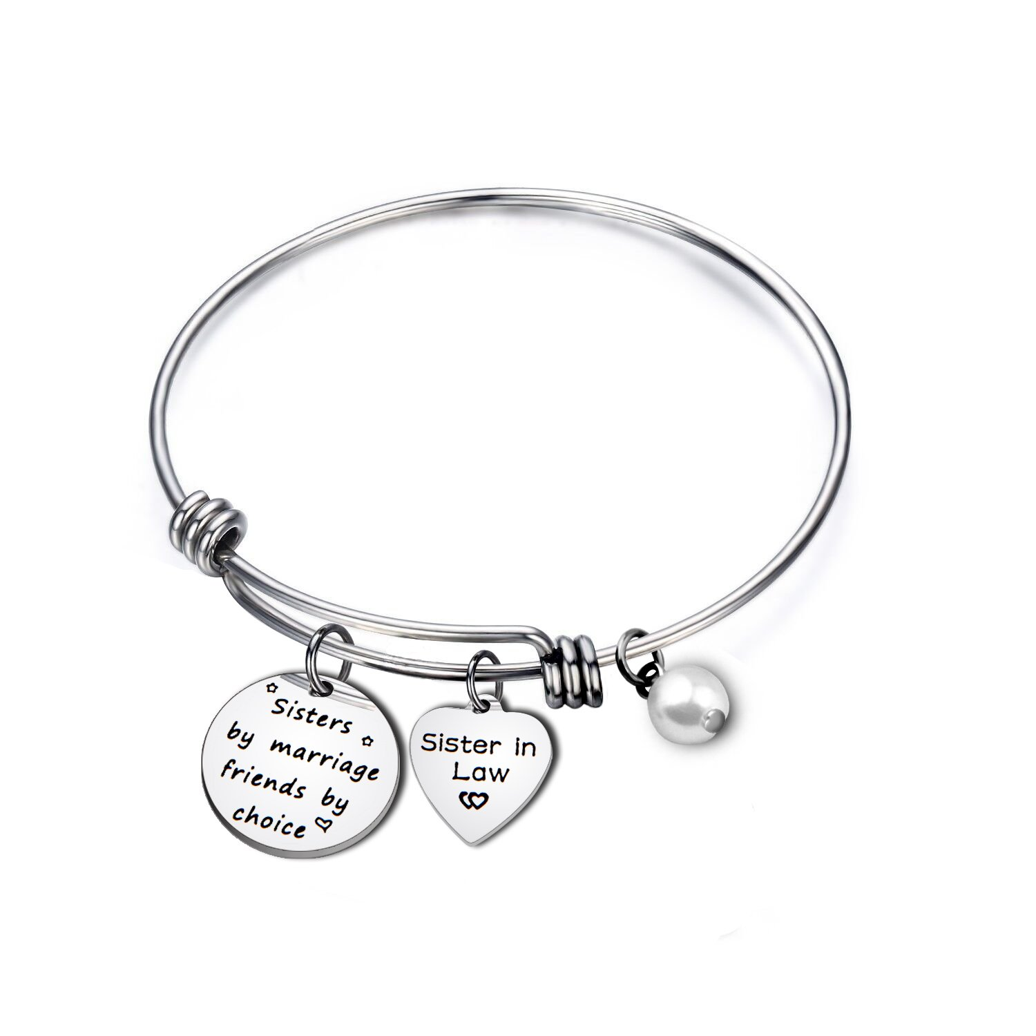 ENSIANTH Sister In Law Gift Sisters by Marriage Friends by Choice Bangle Bracelet Maid of Honor Gift,Best Friend Gift,Wedding Jewelry (Sister bracelet)