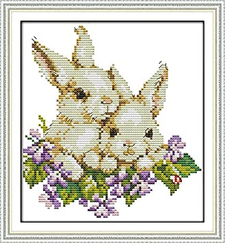 Cross Stitch Embroidery Starter Kit Including 14 Count 12'x15' Classic Reserve Aida Colored Threads and Tools Happy Christmas (No Frame)