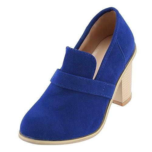 Zapatos De TacóN Alto De Ante con Punta Redonda De Mujer OHQ Botas De Color Puro