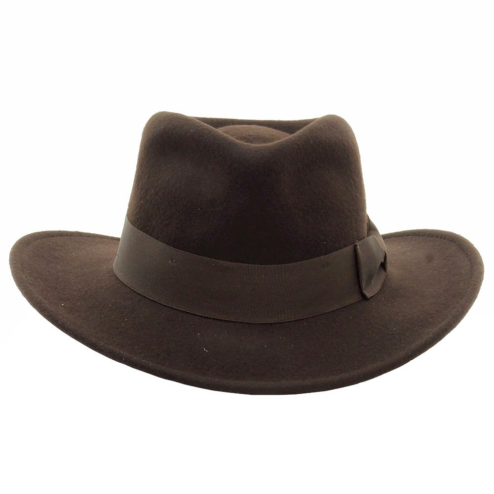 Indiana Jones Men s Wool Felt Water Repellent Outback Fedora with Grosgrain  at Amazon Men s Clothing store  Indiana Jones Hats 36ed6d59fb3f