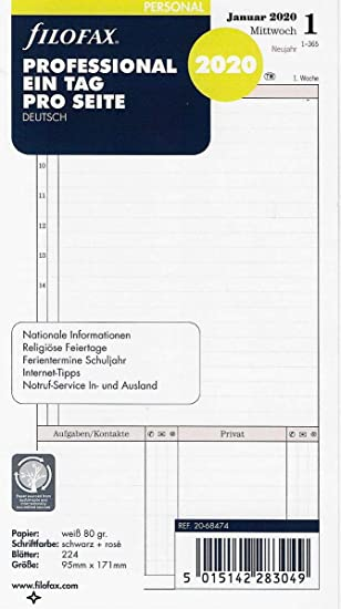 Filofax - Recambio para agenda (95 x 171 mm, para 2020 ...