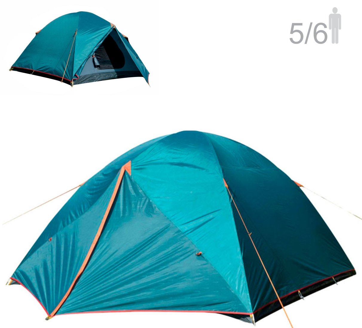 NTK Colorado GT 5 to 6 Person 9.8 by 9.8 Foot Outdoor Dome Family Camping Tent 100% Waterproof 2500mm, Easy Assembly, Durable Fabric Full Coverage Rainfly - Micro Mosquito Mesh for Maximum Comfort