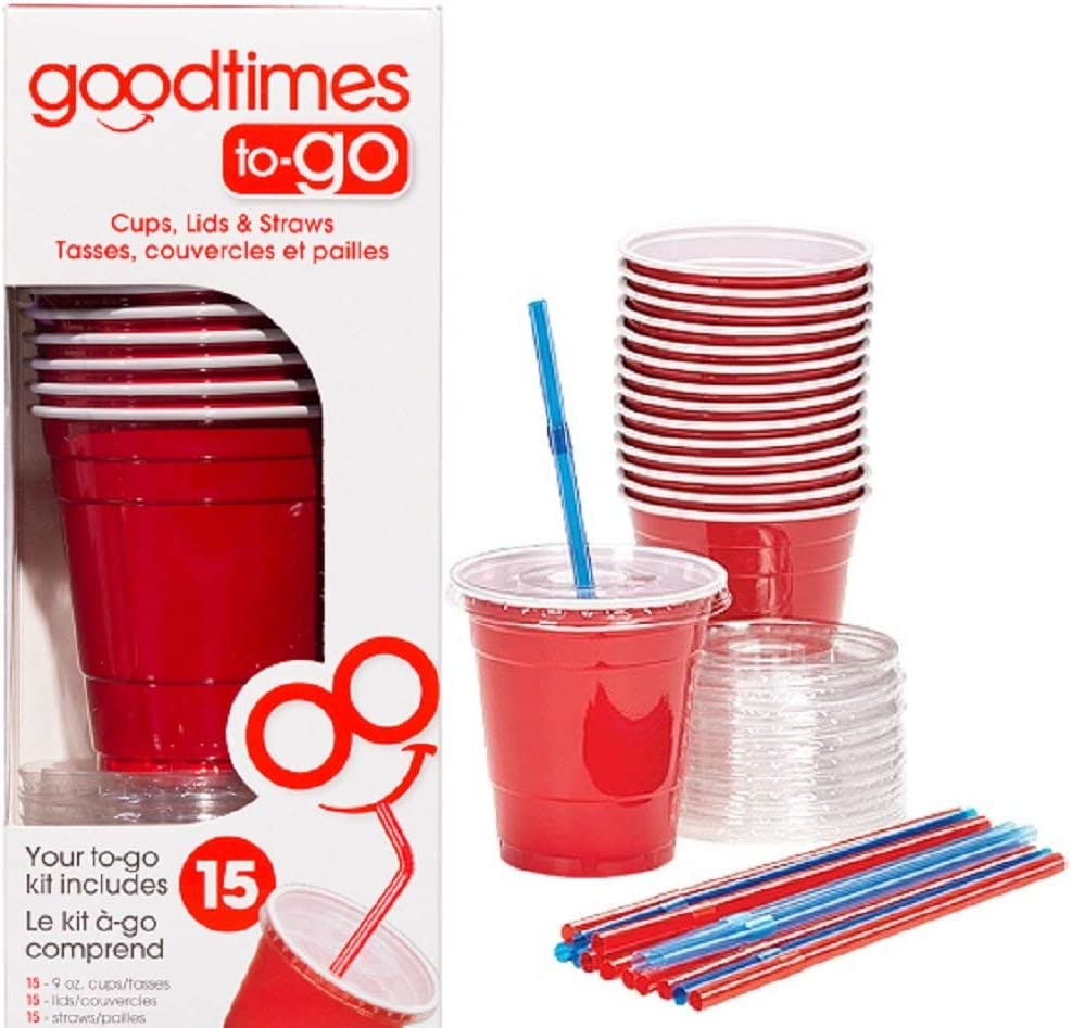 Goodtimes 9oz Kids Cups To-Go Kits With Lids And Straws (15 cups, Red)