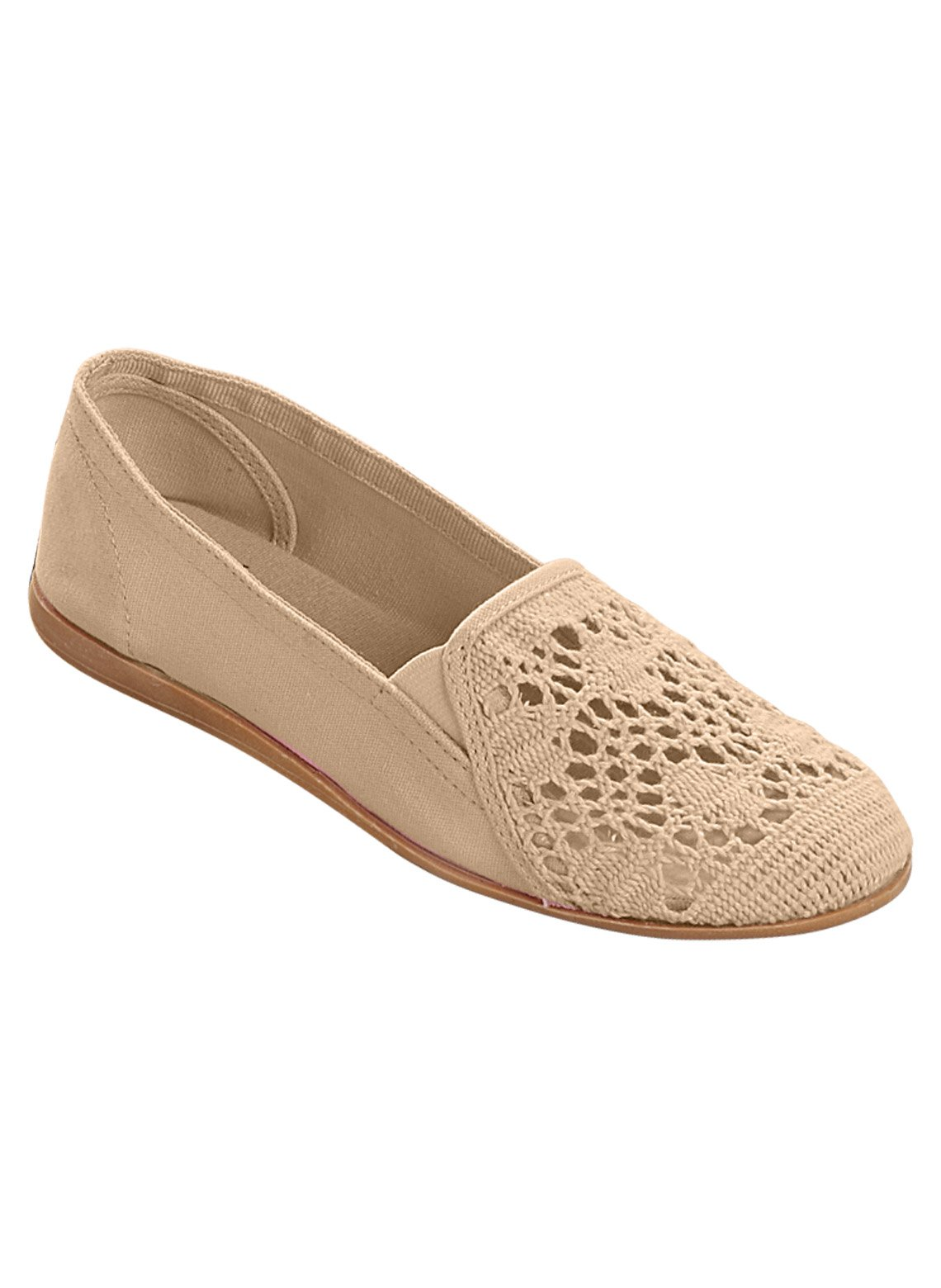 Carol Wright Gifts Crochet Slip-On, Bone, Size 7 (Wide)