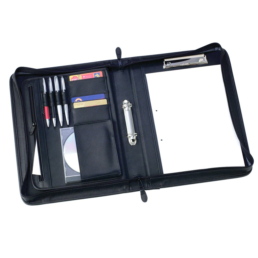 eBuyGB PU Faux Leather Zipped A4 Conference Folder with Clip Holder Ring Binder and Inner Pockets (Black)