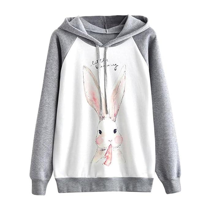 Logobeing Ropa Sudaderas con Capucha Mujer Baratas 2017 Impresión de Conejo Manga Larga Blusa Tops Jersey