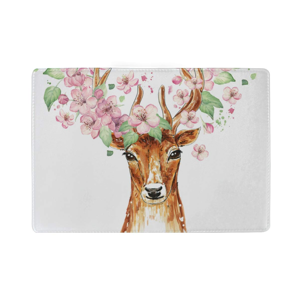 Lonely Bucks Stout Antlers Blocking Print Passport Holder Cover Case Travel Luggage Passport Wallet Card Holder Made With Leather For Men Women Kids Family
