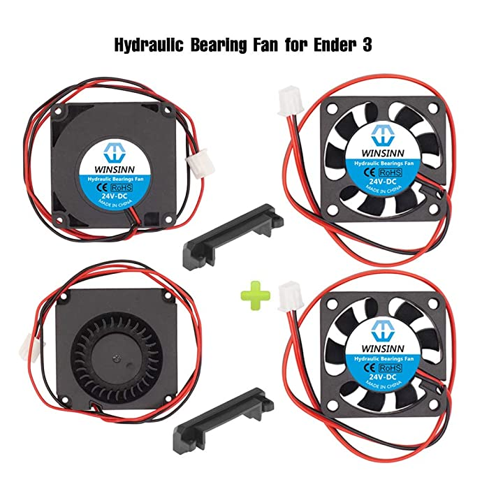 WINSINN 24V 40mm Fan Blower for Cooling Creality Ender 3 / Pro Turbine Turbo 40x10mm 4010 DC Brushless Hydraulic Bearing, with Air Guide Parts - High Speed (Pack of 4Pcs)