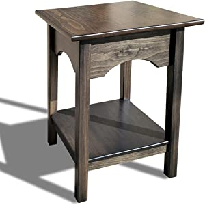 2-Tier Side Table | Fully Assembled Square Wooden End Tables with Storage Shelf Amish Furniture for Living Room Home Decor (Mocha)