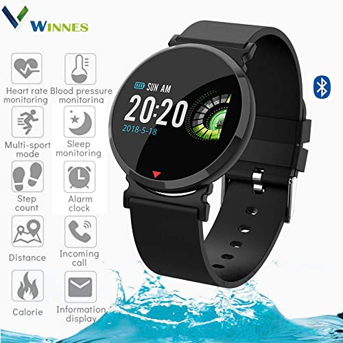 Sports Watch,Winnes Smart Bracelet Fitness Tracker IP67 Waterproof Color Screen Heart Rate Monitor Sleep Monitor with Pedometer for iOS and Android Smart Phones Black Silicone Strap