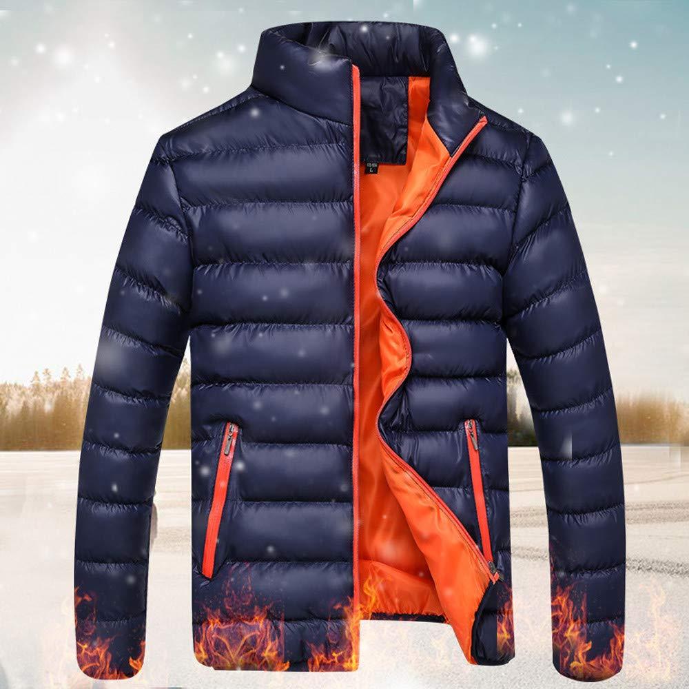 Mens Insulated Packable Jacket,Winter Leisure Zipper Pocket Down Jackets Stand Collar Coat Outwear Tops
