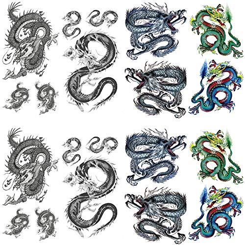 Yesallwas Temporary Tattoo Dragon for Men,Teens Guys,Kids Boys(8 Sheets), Waterproof Long Lasting Fake Tattoos Stickers for Arms Shoulders Chest & Back- Biker Tattoos 9cmx19cm/3.54x7.48inches(LxW) (Temporary New Tribal Dragon Tattoo)