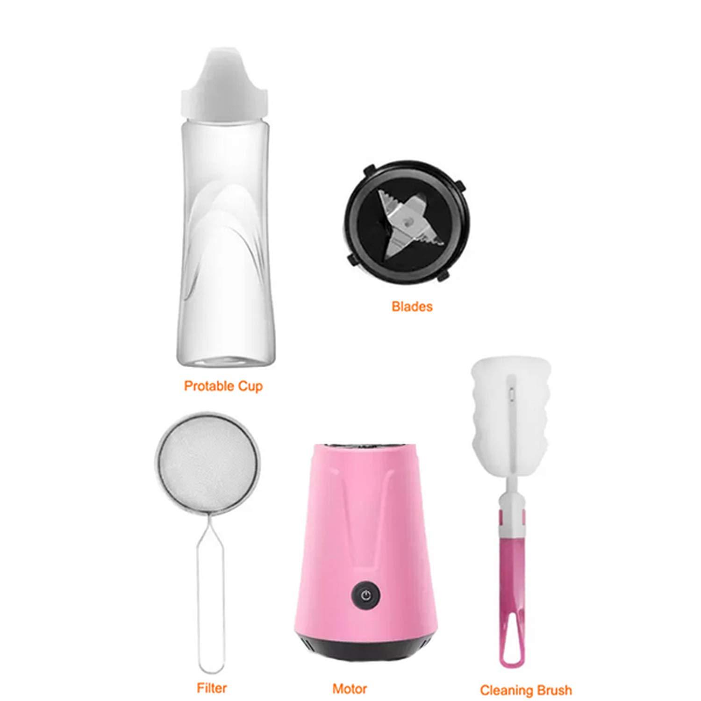 Portable Electric Juicer Blender Fruit Baby Food Milkshake Mixer Meat Grinder Multifunction Juice Maker Machine,PinkFull