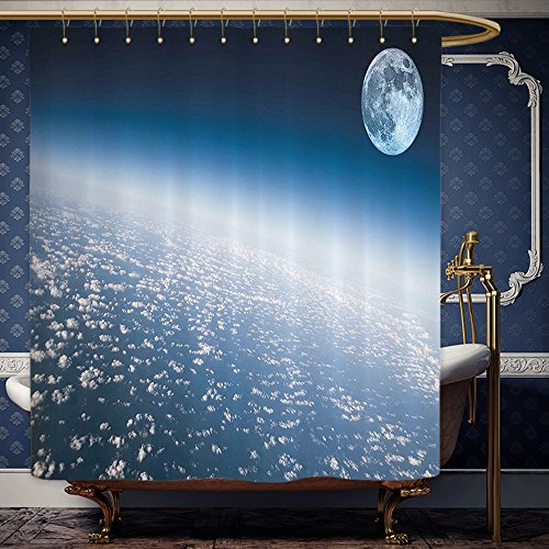 Wanranhome Custom-made shower curtain Space Aerial Atmosphere View of the Planet Earth with Moon Satellite World Horizon Picture Light Blue For Bathroom Decoration 69 x 72 inches