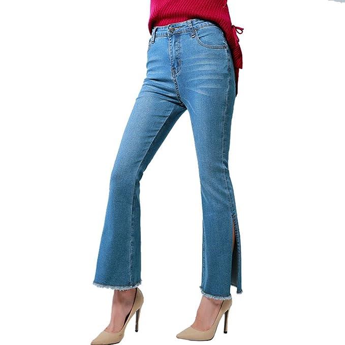 MissFox Mujer Pantalon de Campana de Vaqueros Moda Slim ...
