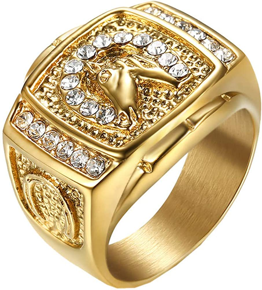 PAMTIER Men's Stainless Steel Vintage Hip Hop Punk Iced Out Pave CZ Horse Ring Gold/Silver