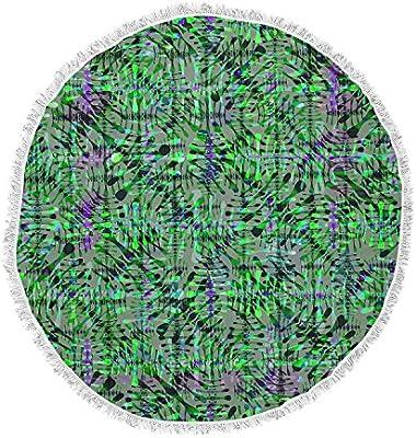 Kess InHouse Miranda MOL Tropical Camo Green Purple Pattern Abstract Digital Mixed Media Round Beach Towel Blanket