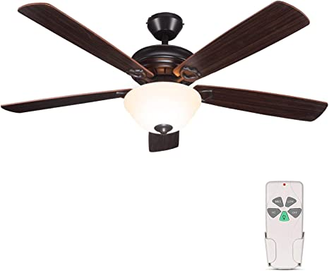 Amazon Com 52 Inch Indoor Oil Rubbed Bronze Ceiling Fan With Light Kits And Remote Control Classic Style Lifetime Motor Warranty Reversible Blades Etl For Living Room Bedroom Basement Kitchen Dining