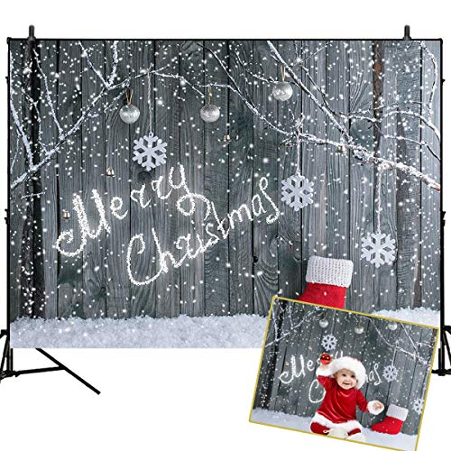Mehofoto Christmas Backdrop Gery Wood Backdrops Merry Christmas Snowing Scence Background 7x5ft Red Sock Photo Backdrop Studio Prop for Newborn Baby Children Portrait