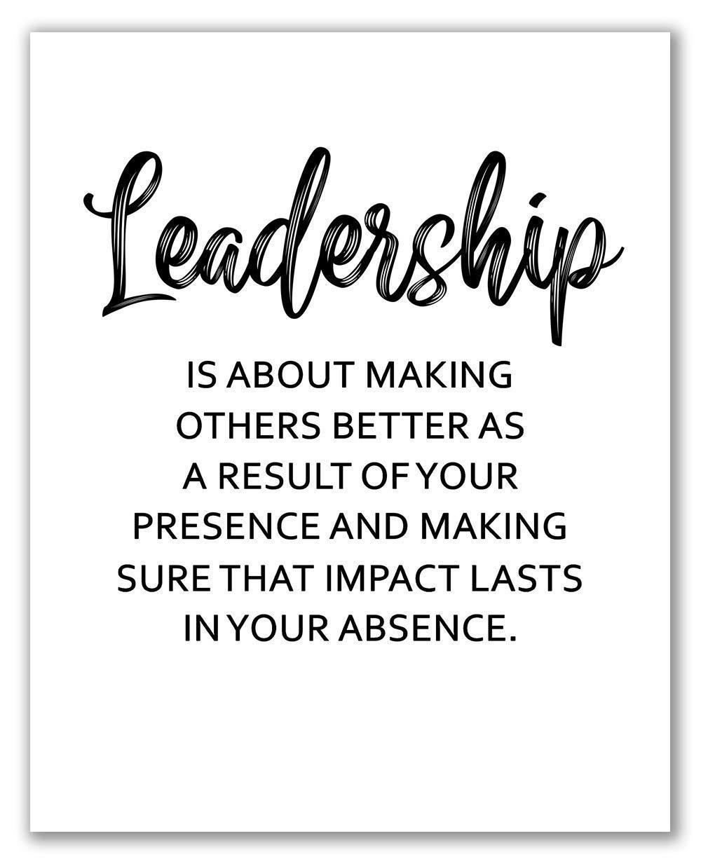 "Leadership Print - 8"" x 10"" - Unframed, Inspiration Boss Gift, Quote Office Art, Business Inspirational Print, Office Wall Art, Gift For Good Leader, Office Decor"