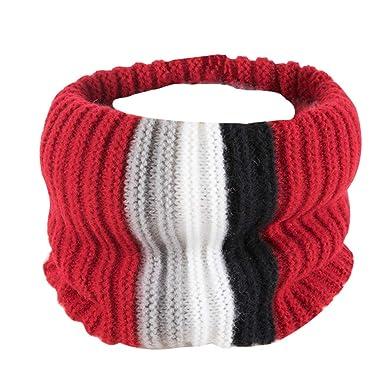 a412960b47e1a Fenical Écharpe tricotée à rayures Écharpe pour enfants Enfants jouant en  plein air (rouge foncé