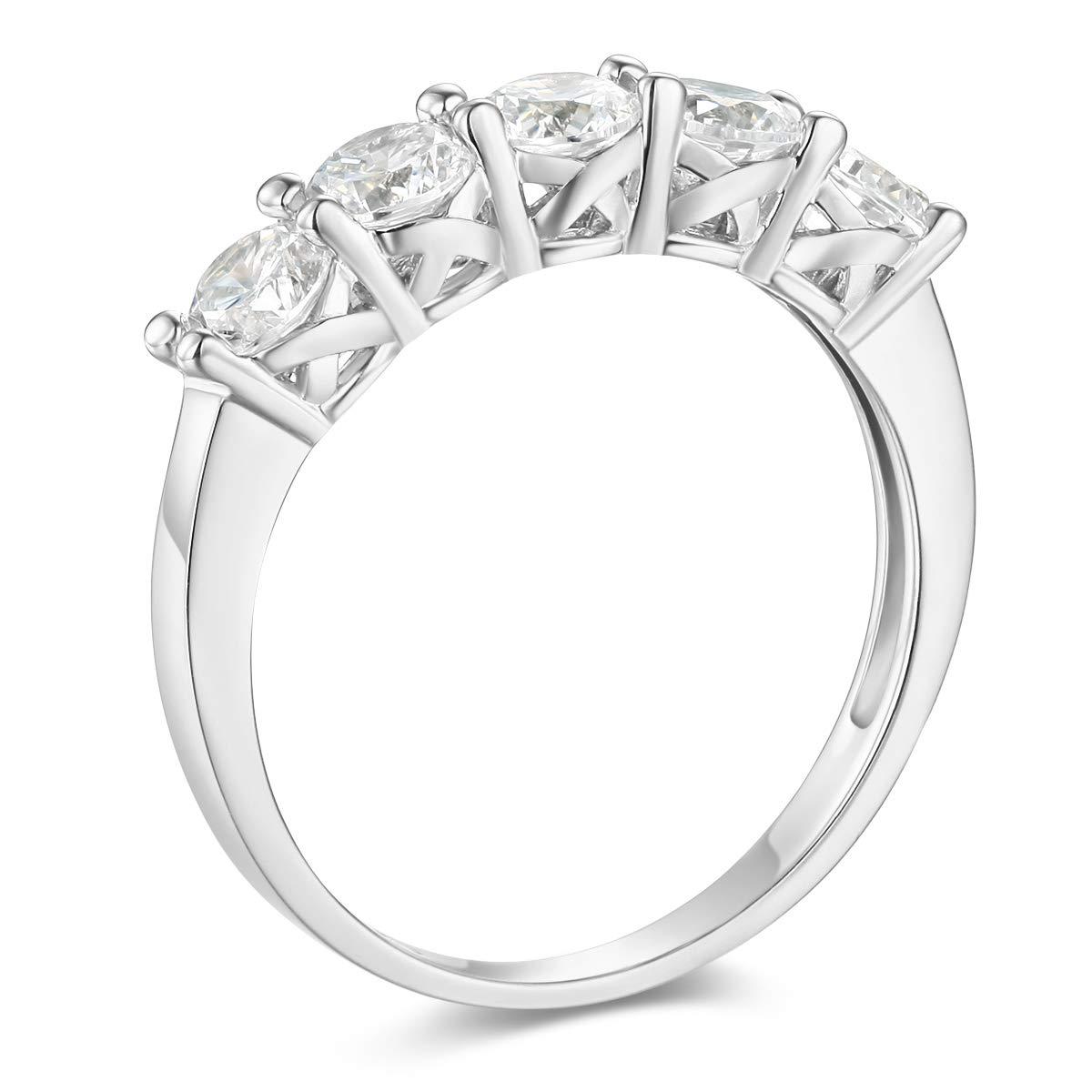 Wellingsale Ladies 925 Sterling Silver Polished Rhodium Wedding Band