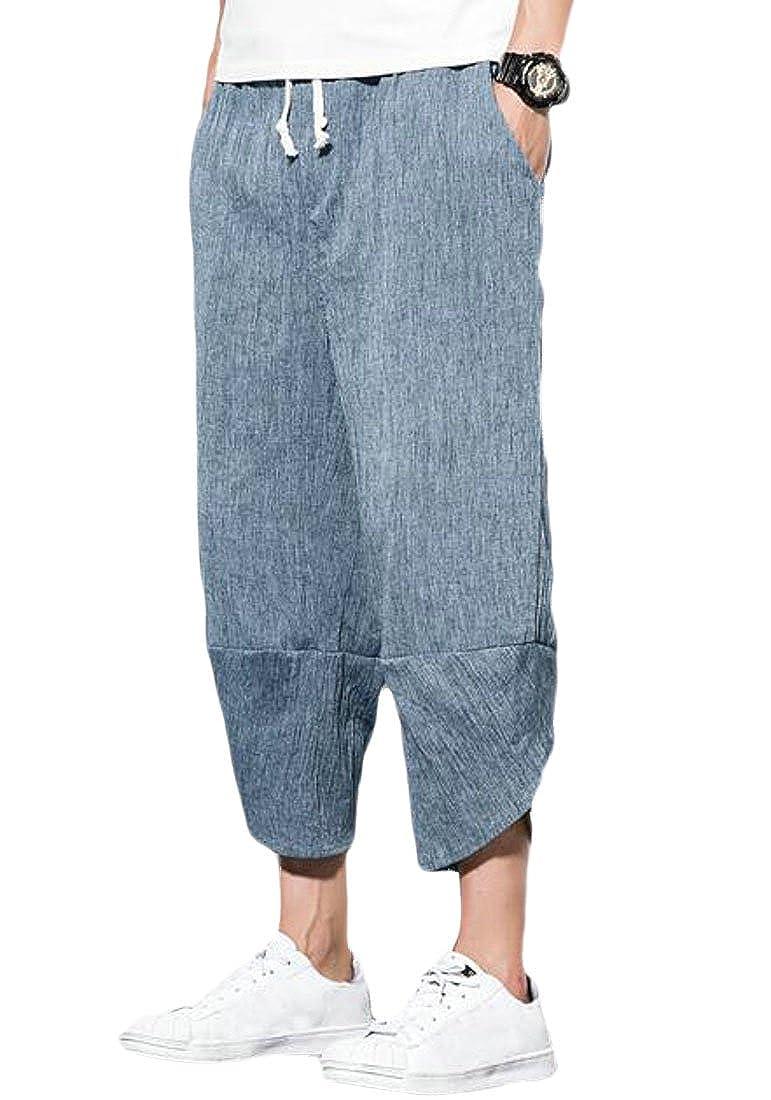 JXG Men Casual Beach Plus Size Elastic Waist Capri Pant Casual Pants Trousers