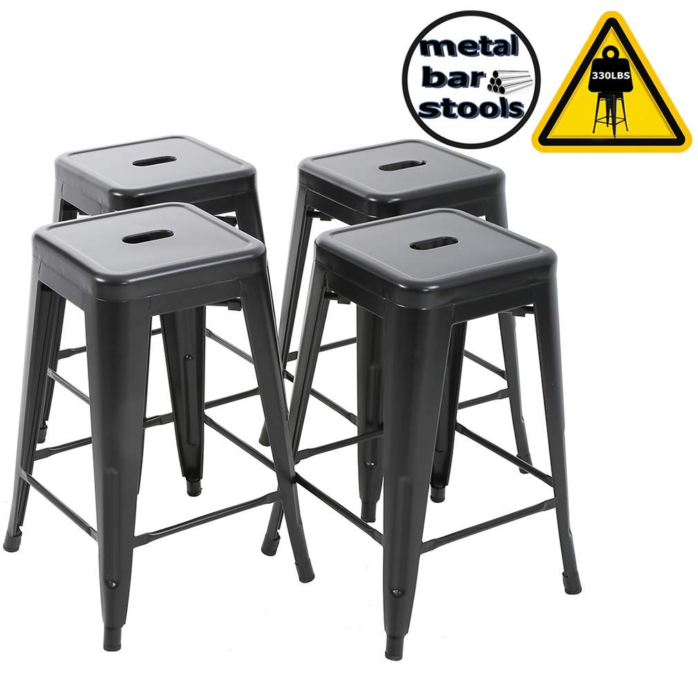 FDW Metal Stools Bar stools 24 Inch Height Stackable Barstools Indoor Outdoor Dining Backless Kitchen Bar Stools Set of 4 (Renewed)