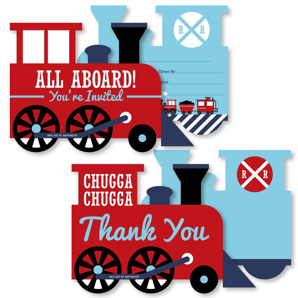 Railroad Party Crossing - 20 Shaped Fill-In Invitations and 20 Shaped Thank You Cards Kit - Steam Train Birthday Party or Baby Shower Stationery Kit - 40 Pack