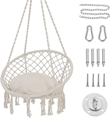 Amazon Com Patio Watcher Hammock Chair Macrame Swing With Cushion And Hanging Hardware Kits Handmade Knitted Mesh Rope Swing Chair For Indoor Outdoor Home Bedroom Patio Yard Deck Garden Furniture Decor