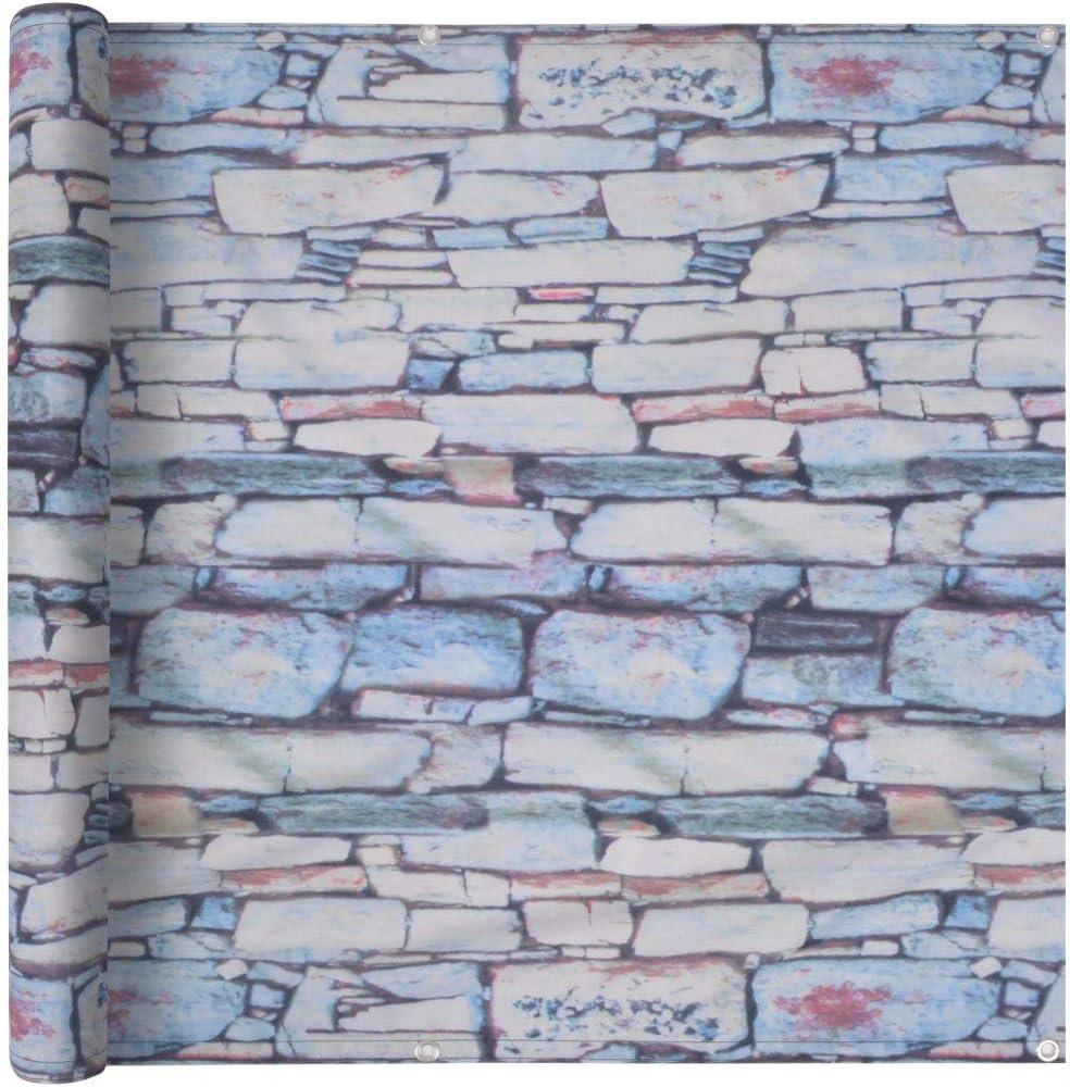 Tidyard Balcony Screen Waterproof Oxford Fabric UV Protective for Balcony Garden Swimming Pool 75x400 cm Stripe Grey