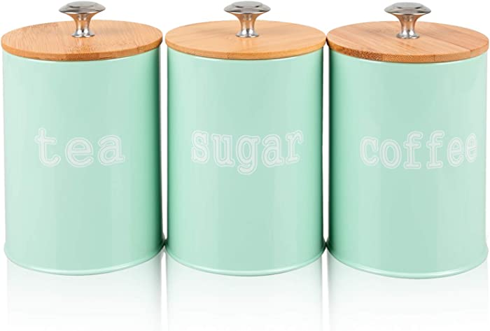 PAOPASE Set of 3 Metal Food Storage Tin With Bamboo Lid for Sugar Tea Coffee Canister Jar Green