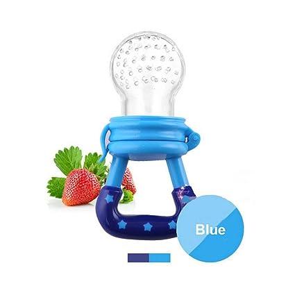 Chupete de alimentación fresca y fruta - Chupetes de dentición de silicona Tinabless | Great Baby Nibbler Alimentador de alimentos Mordedor (azul)