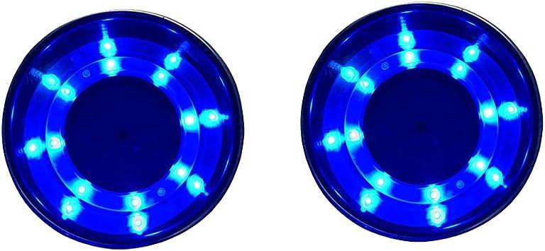 Nuzamas 2er Set Edelstahl Getränkehalter Mit Led Licht Blau Marine Boot Rv Camper Caravan Auto