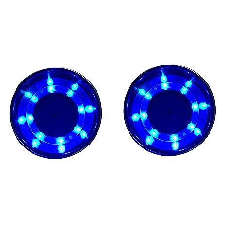 Nuzamas - Portavasos de acero inoxidable, 2 unidades, luz LED azul, para barco