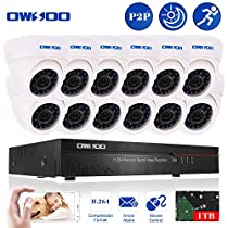OWSOO 16CH CIF 1TB Hard Drive DVR with 12PCS Night Vision Built-in Waterproof IR LED Indoor 800TVL IR Cameras Surveillance CCTV Security Camera System - White