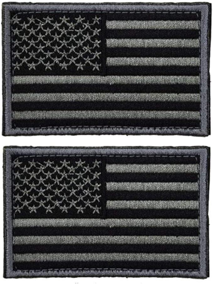 4 piezas táctica parche de bandera de Estados Unidos – negro & Gray- americano bandera US Estados Unidos de América Militar uniforme emblema parches: Amazon.es: Hogar