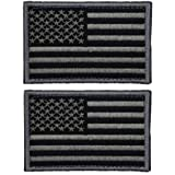 2 Pieces Tactical USA Flag Patch -Black & Gray- American Flag US United States of America Military Uniform Emblem…