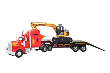 Big Daddy Big Rig Heavy Duty Tractor Trailer Transport Series Flatbed  Trailer with Excavator Included (Colors May Vary)