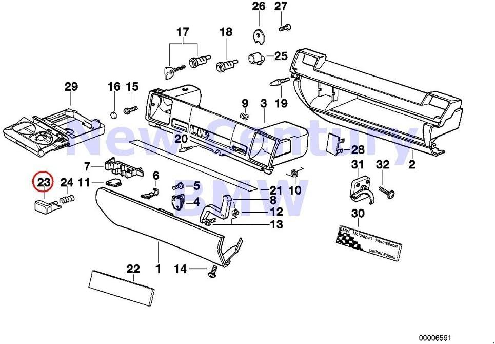 BMW Genuine Glove Box Push Button Gray 318i 318is 320i 323i 325i 325is 328i M3 M3 3.2