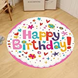 Gzhihine Custom round floor mat Birthday Decorations Lovely Retro Greeting Card Inspired Design Hearts Smiles Flowers Dots Bedroom Living Room Dorm Multicolor