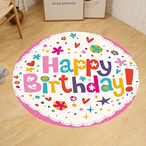 Gzhihine Custom round floor mat Birthday Decorations Lovely Retro Greeting Card Inspired Design Hearts Smiles Flowers Dots Bedroom Living Room Dorm Multicolor by Gzhihine