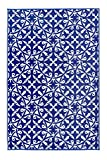Fab Habitat Reversible, Indoor/Outdoor Weather Resistant Floor Mat/Rug - San Juan - Dark Blue (6' x 9')