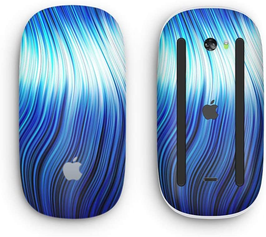 Wireless, Rechargable with Multi-Touch Surface Design Skinz Premium Vinyl Decal for The Apple Magic Mouse 2 Blue Vector Swirly HD Strands