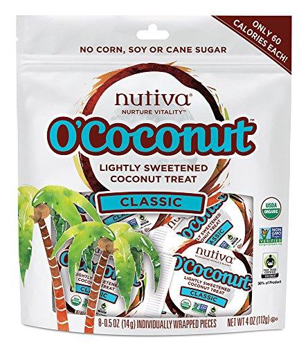 Nutiva O'Coconut Lightly Sweetened Organic, non-GMO Coconut Treat, Classic, 8-piece