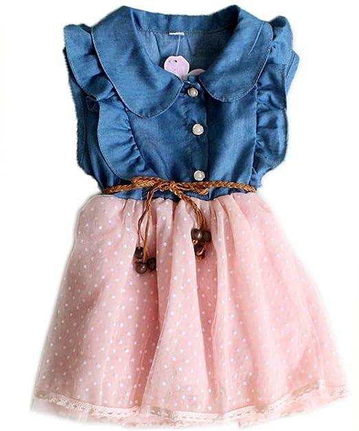 71b22e7c82641 TRURENDI Baby Girls Princess Party Dress Clothes Kid Summer Denim ...