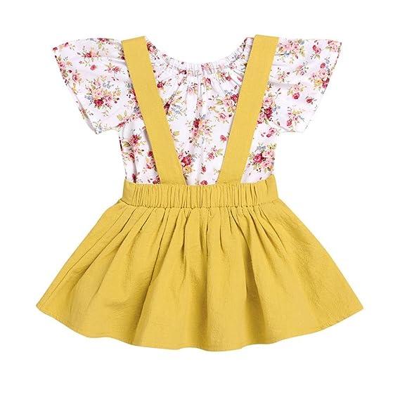 2 piezas bebé infantil Falda de estampado floral para niñas Rompers Jumpsuit Strap Conjunto de trajes