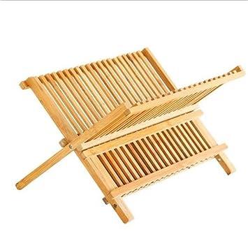 DiDoDs - Escurreplatos plegable de bambú de 2 niveles con escurridor y  platos 16 grid 7aa9b4bc2721