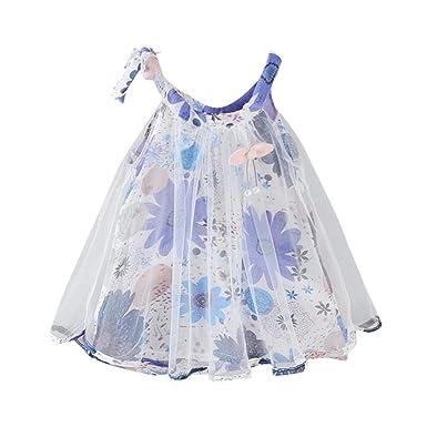 6ac00242a854e ADESHOP Mode Fille Robe BéBé Filles Impression Florale Princesse Sangle Net  Fil Robe VêTements De FêTe