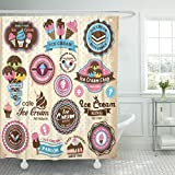 ice cream labels - VaryHome Shower Curtain Sticker Collection of Vintage Retro Ice Cream Labels Badges and Cookie Cone Waterproof Polyester Fabric 72 x 72 inches Set with Hooks